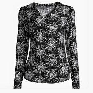 Spooky Graphic Cobweb V Neck Fitted Knit Top Small